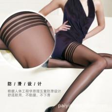 蜜恪情趣内衣螺纹长筒袜透明黑网袜制服诱惑吊带丝袜外贸批发8195