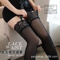 蜜恪情趣内衣女式蕾丝花边长筒袜透明黑网袜制服诱惑吊带丝袜8190