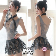 霏慕连身丝网袜制服诱惑套装性感女式吊带蕾丝情趣内衣成人性用品7490
