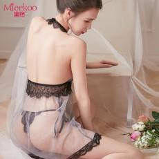 【情趣内衣】蜜恪 挂脖透明睡裙套装 8359