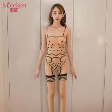 【情趣内衣】蜜恪吊带提花波点丝袜连体衣 6042