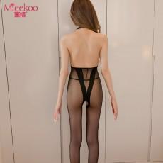 【情趣内衣】蜜恪挂脖提花丝袜连体衣 6039