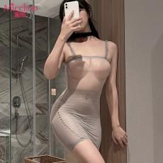 【情趣内衣】蜜恪吊带透明条纹包臀裙 6001