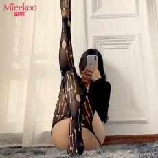 【情趣内衣】蜜恪镂空破洞一体式吊带网袜 4430