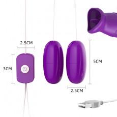 【情趣用品】来乐USB舌舔双跳蛋【紫蓝色】袋装