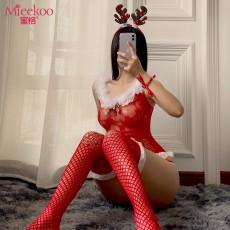 【情趣内衣】蜜恪圣诞麋鹿毛毛连体衣套装红色6629