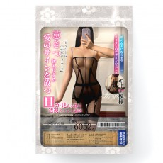 【情趣内衣】蜜恪蜜恪透明提花吊带连体衣黑色6052
